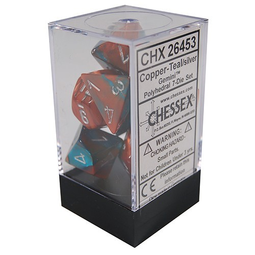 Chessex Gemini Polyhedral Dice Set Copper-Teal/Silver image