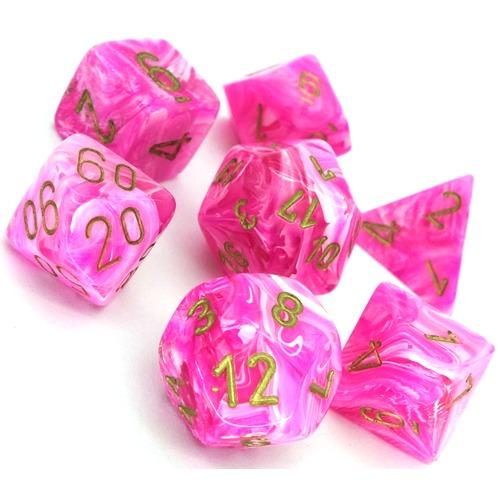 Chessex: Vortex Polyhedral Dice Set - Pink/Gold image