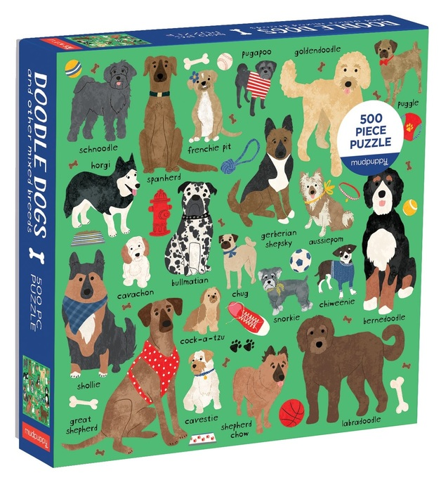 Mudpuppy: 500-Piece Family Puzzle - Doodle Dogs & Other Mixed Breeds