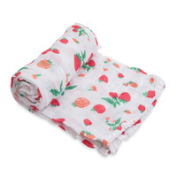 Little Unicorn: Cotton Muslin Swaddle - Strawberry (Single)