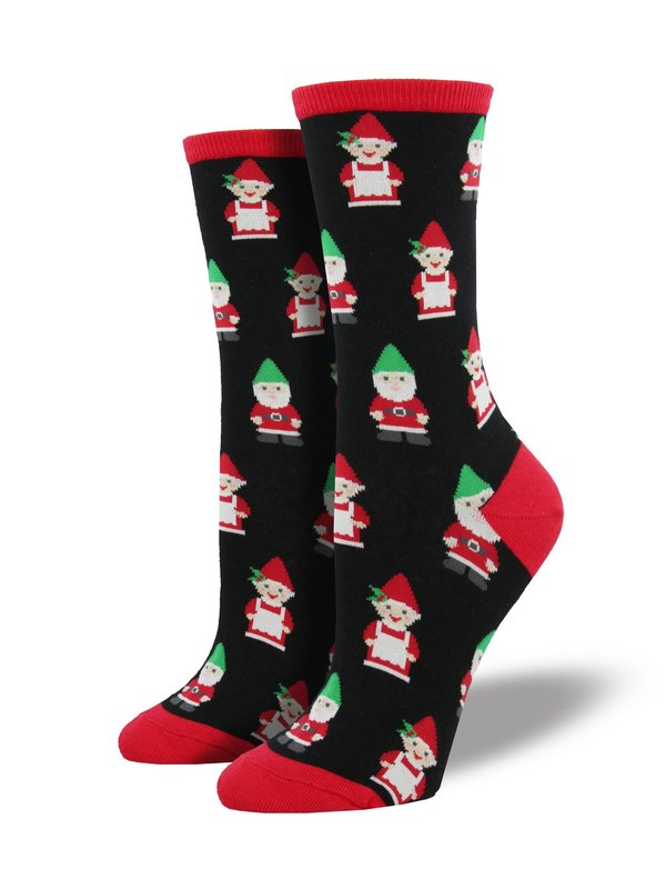 Socksmith: Womens Gnomes Christmas Crew Socks - Black