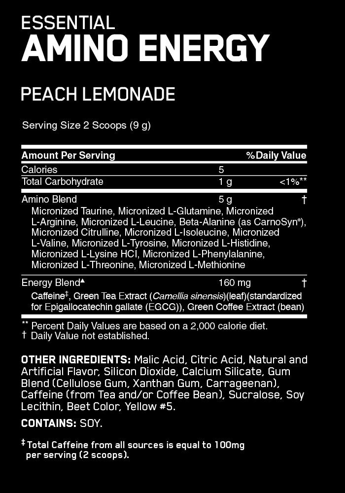 Optimum Nutrition Amino Energy Drink - Peach Lemonade (30 Serves) image