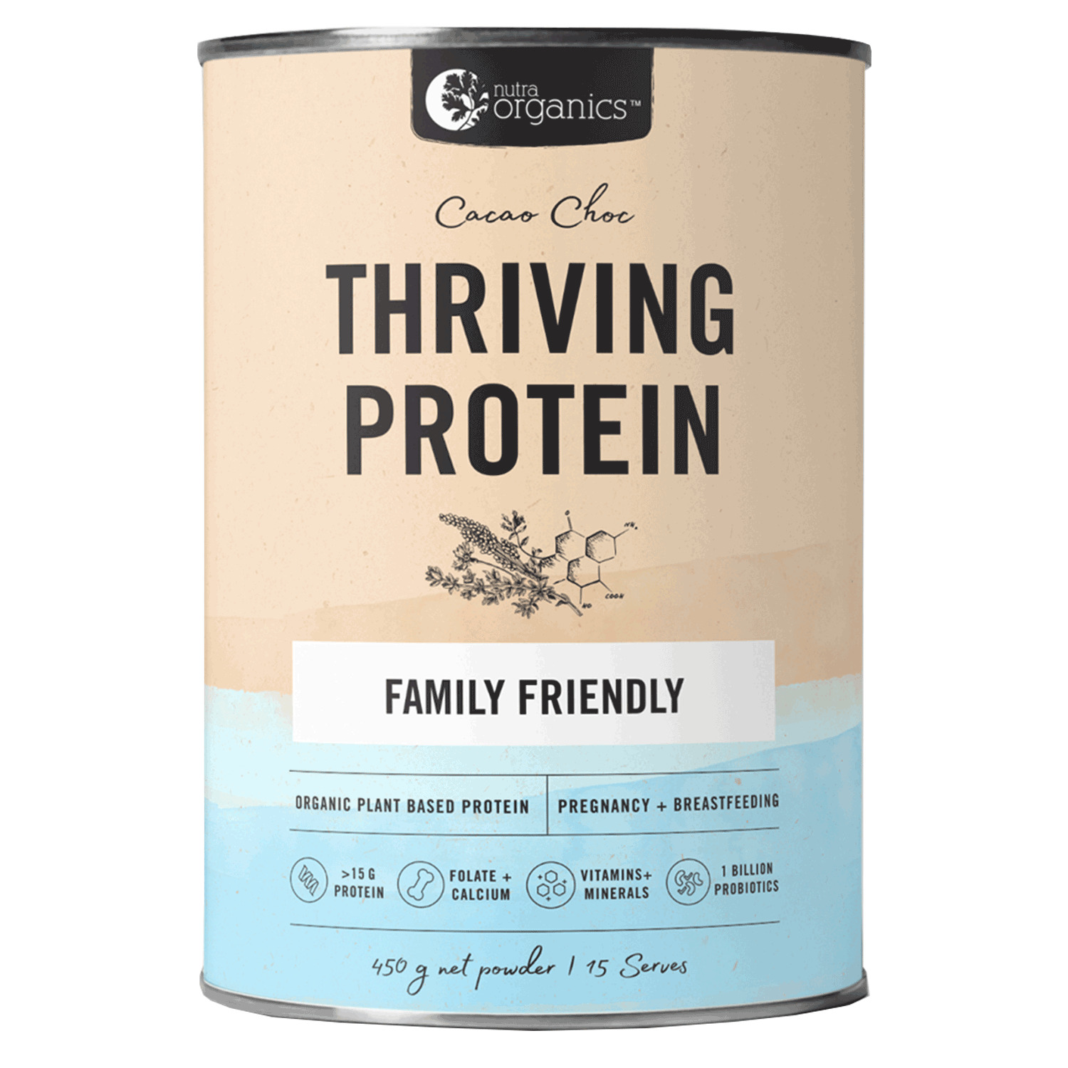 Nutra Organics Thriving Protein Powder - Cacao Chocolate (450g) image