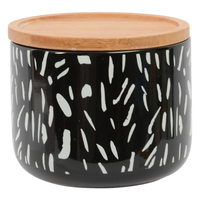 Marlo Tova Canister with Wood Lid - Black (Small)