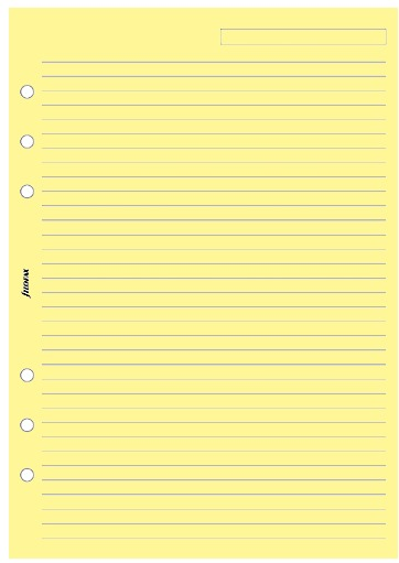 Filofax - A5 Lined Notepaper - Yellow (25 Sheets)