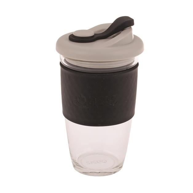 Oasis Glass Coffee Cup - Black (454ml)