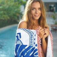 Bambury Printed Round Towel (Calypso)