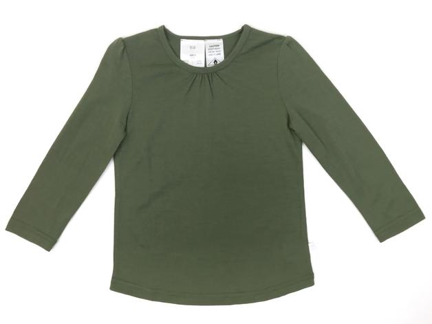 Babu: Merino Ruffle Long Sleeve T-Shirt - Khaki (1 Year)