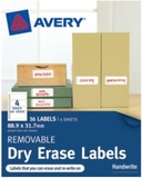 Avery Removable Dry Erase Labels With with Green Details 89.9mm x 31.7mm Pkt16
