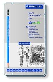 Staedtler: Mars Lumograph Premium Graphite Sketching Pencils - Tin of 12