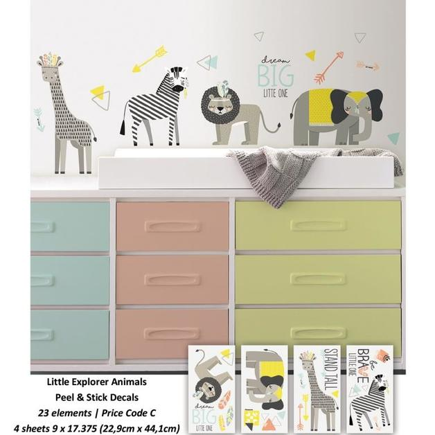 Room Mates: Little Explorer Animal Peel and Stick Wall Decals