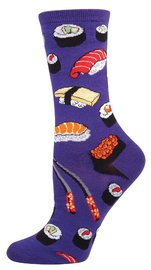 Womens Sushi Crew Socks - Grape