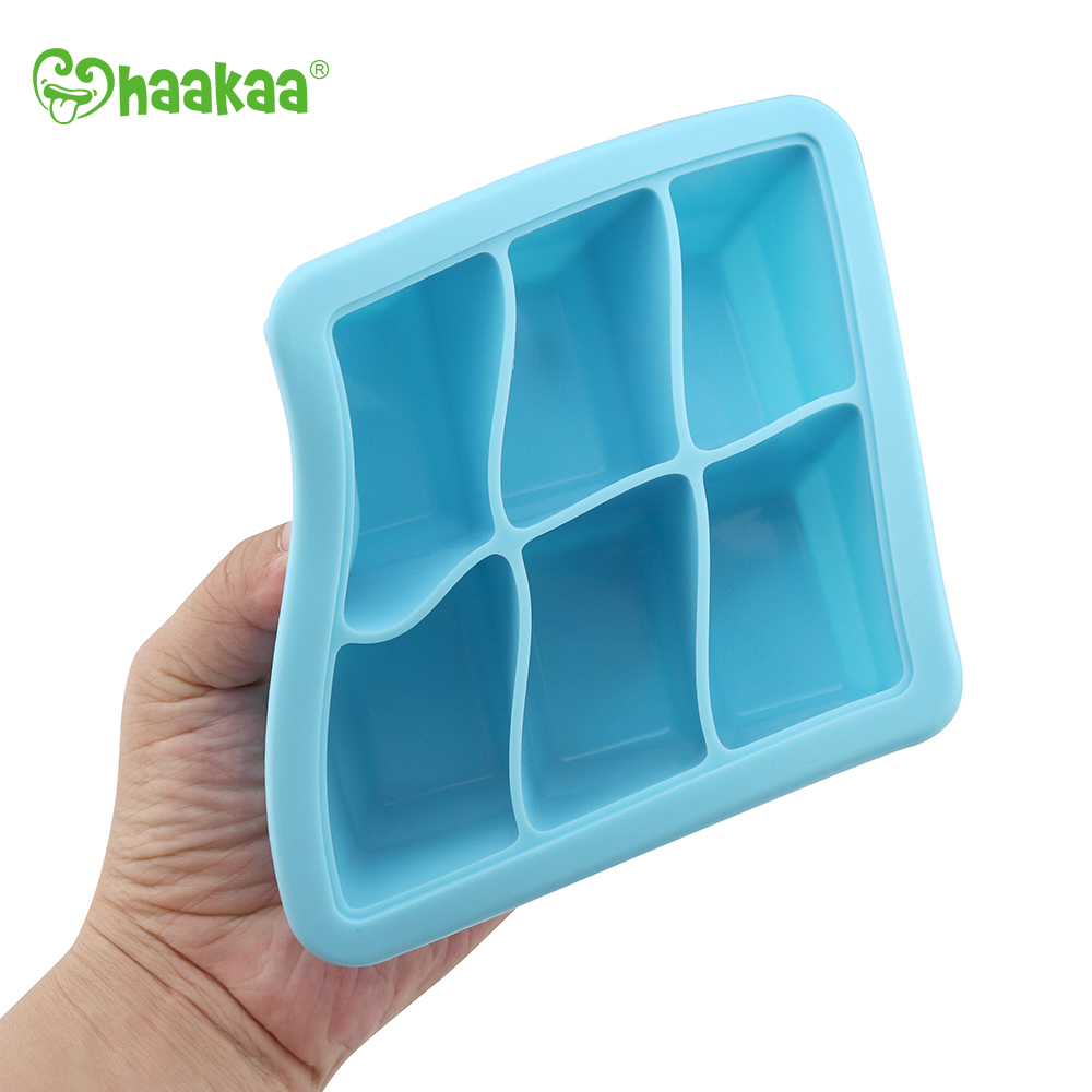 Haakaa: Silicone Baby Food Freezer Tray 6 with Lid - Blue image