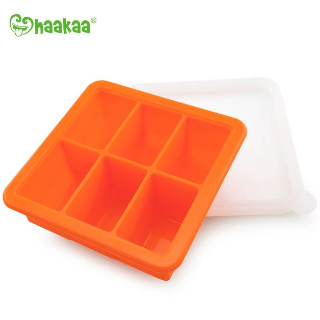 Haakaa: Silicone Baby Food Freezer Tray 6 with Lid - Orange