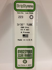 Evergreen Styrene Tube White 35cm Long X 2.4 mm (6)
