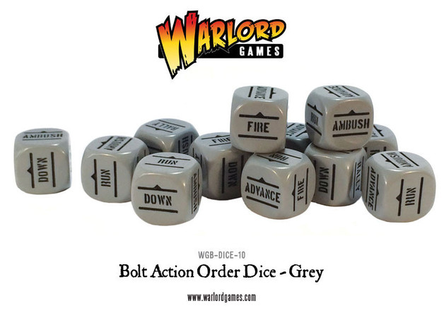 Bolt Action Orders Dice Grey (12)