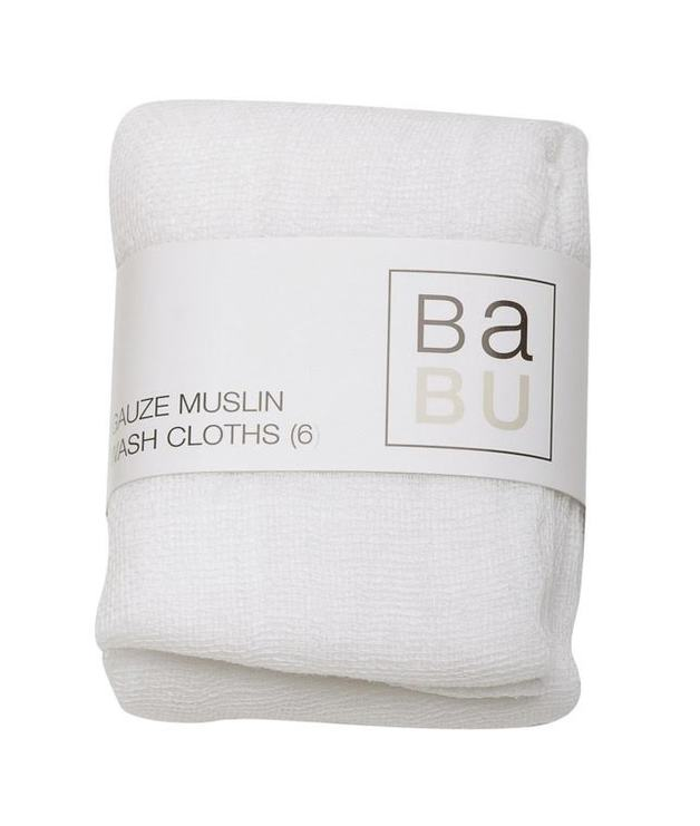 Babu: Gauze Muslin Wash Cloths - 6 Pack
