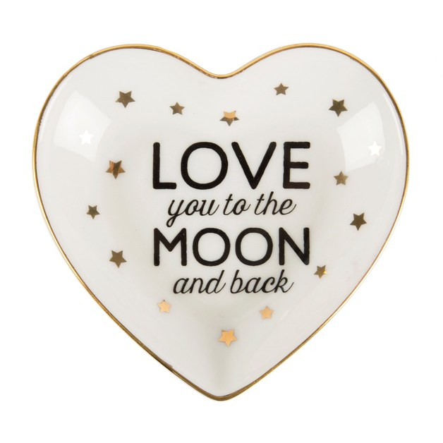 Love You To The Moon & Back Heart Jewellery Dish