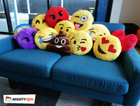 Tongue Out Emoji with Winking Eye Cushion - 34cm