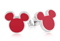 Disney Couture: Mickey Mouse Stud Earrings Red - (White Gold)