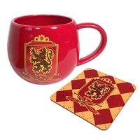 Harry Potter Red Gryffinder Crest 12 oz. Mug and Coaster Set