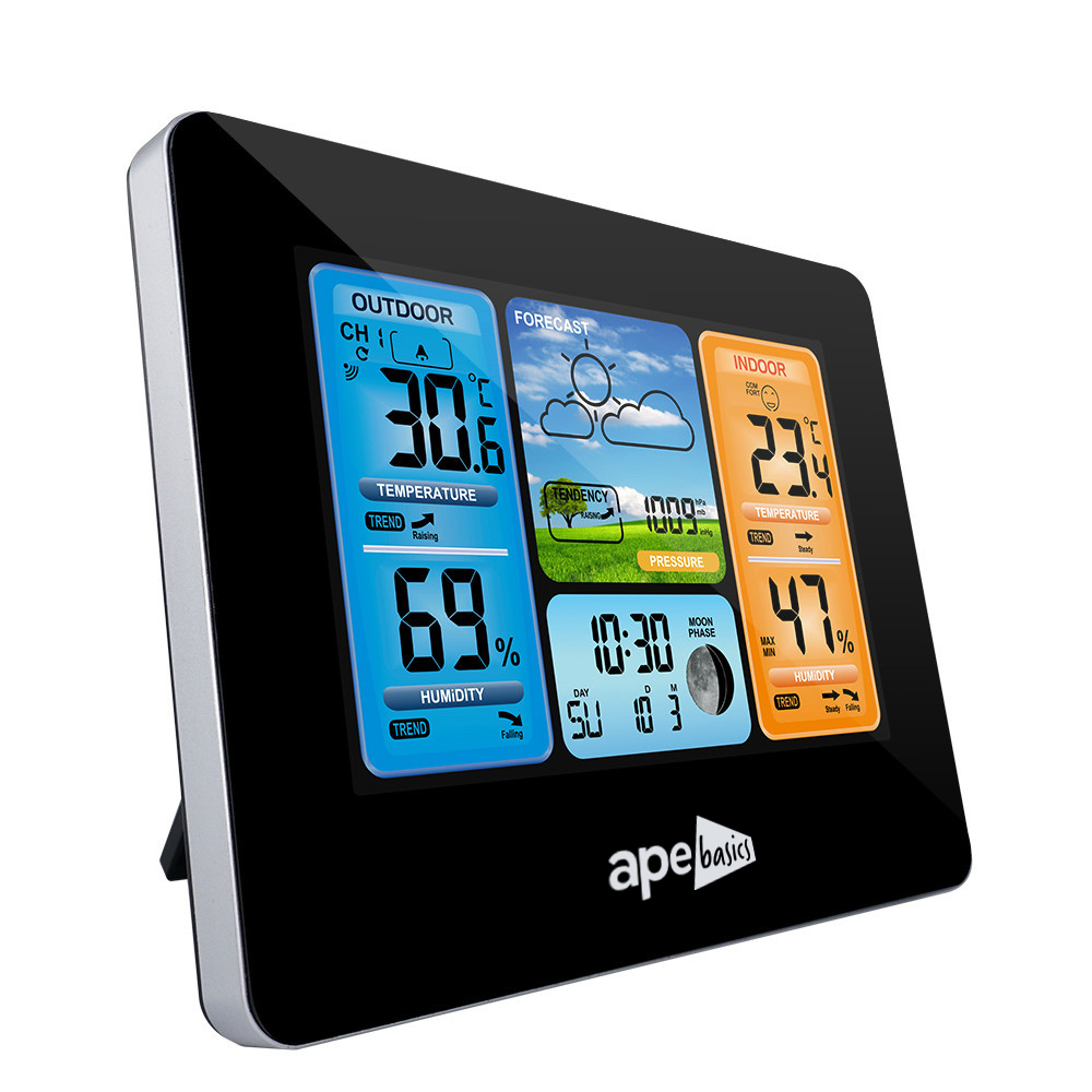 Wireless Sensor LCD Display Weather Station Clock - Black image