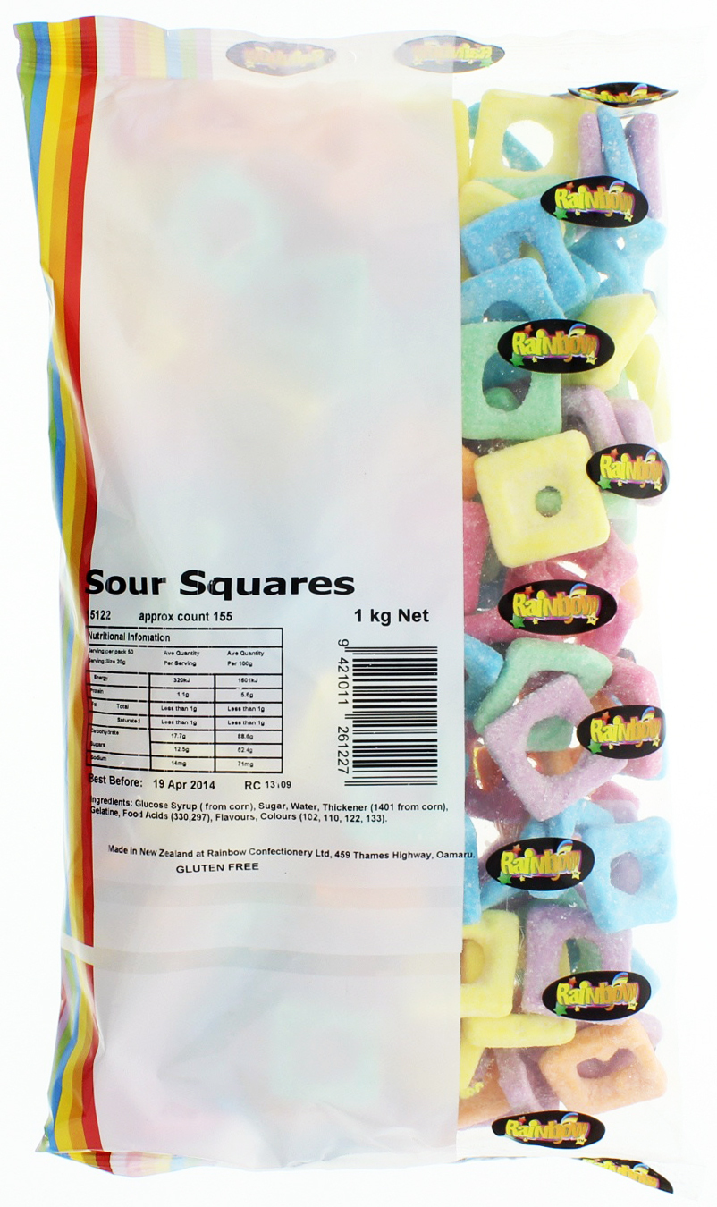 Rainbow Confectionery Sour Squares Lollies Bulk Bag 1kg image