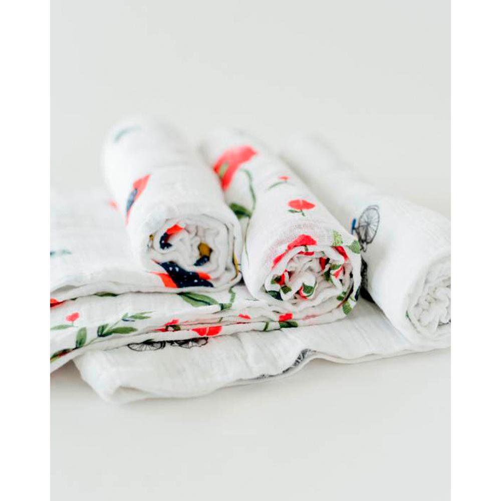 Little Unicorn - Cotton Muslin Swaddle - Summer Poppy (3 Pack) image
