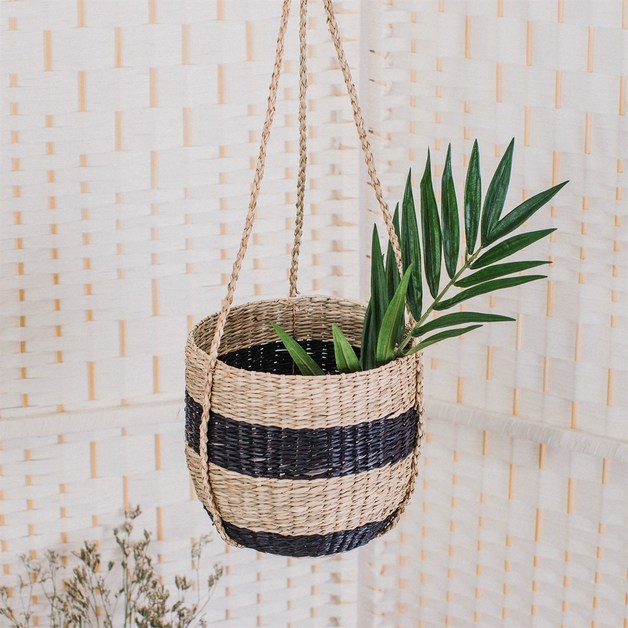 Sass & Belle: Black Stripe Seagrass Hanging Planter