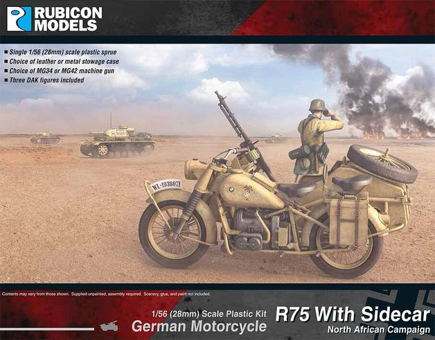 Rubicon 1/56 German Motorcycle R75 with Sidecar - DAK