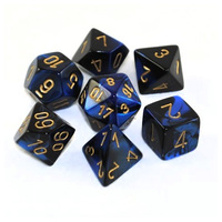 Chessex Gemini Polyhedral Dice Set Black-Blue/Gold