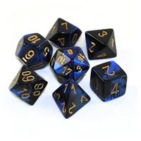 Chessex Gemini Polyhedral Dice Set Black-Blue/Gold