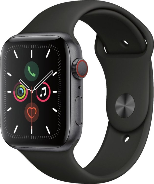 Apple Watch: Series 5 - (4G & GPS) with 44mm Sports-Band (Space Grey / Aluminium)