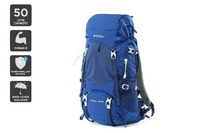 Komodo: 50L Extendable Hiking Backpack With Rain Cover (Blue)