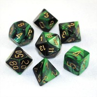 Chessex Gemini Polyhedral Dice Set - Black Green/Gold