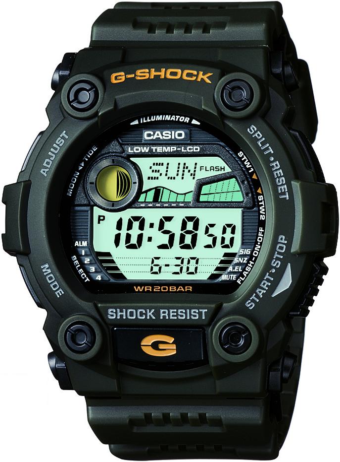 Casio G-Shock Digital Mens Green Tide Graph Watch G-7900-3DR image