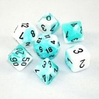 Chessex Gemini Polyhedral Dice Set Teal-White/Black