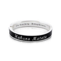 Disney The Lion King Hakuna Matata Bangle - White Gold