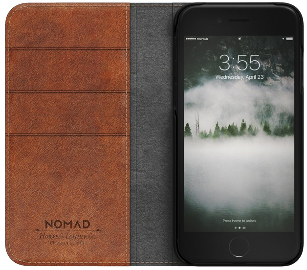 new concept fca1a 2a137 Nomad Horween Leather Folio Wallet Case for iPhone 7/8 (Rustic ...