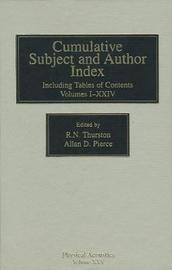 Cumulative Subject and Author Index, Including Tables of Contents Volumes 1-23: Volume 25