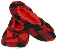 Slumbies Red Women's Plaid Slippers (L)