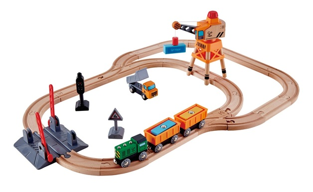 Hape: Crossing & Crane - Wooden Railway Set