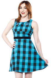 Sourpuss Swallows Buffalo Plaid Dress (Size XL)