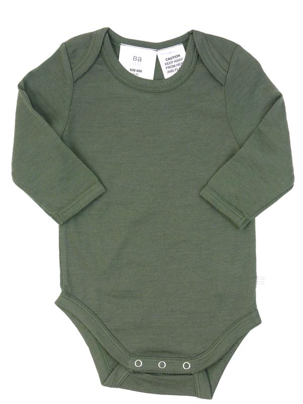 Babu: Merino Long Sleeve Body Suit - Khaki (2 Years)