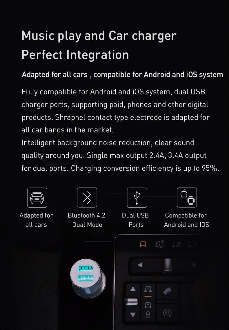 Xiaomi ROIDMI 3S Bluetooth FM Transmitter + Charger image