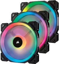 Corsair Ll Series LL120 RGB 120mm Dual Light Loop RGB LED PWM Fan — 3 Fan Pack with Lighting Node PRO