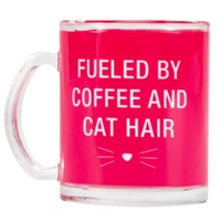 Say What: Glass Mug - Coffee & Cat Hair (Pink)