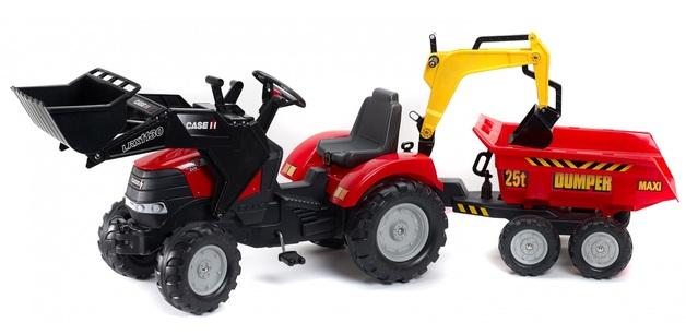 Falk: Case IH Puma Pedal Tractor - Excavator with Maxi-Tilt Trailer