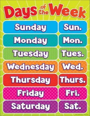 Days of the Week Chart by Teacher's Friend
