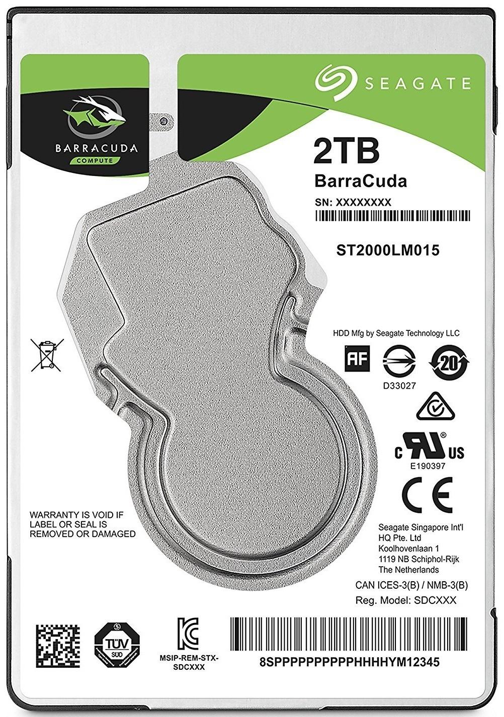 2TB Seagate Barracuda Sata 6GB/s 128MB Cache 2.5-Inch 7mm Internal Hard Drive image